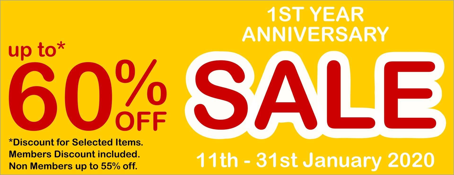 1st Year Anniversary Sale