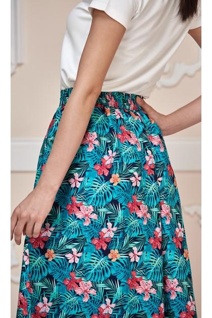 Hawaiian Maxi Skirt with Green Leaves