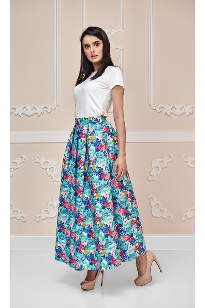 Hawaiian Maxi Skirt with Green/Blue Leaves