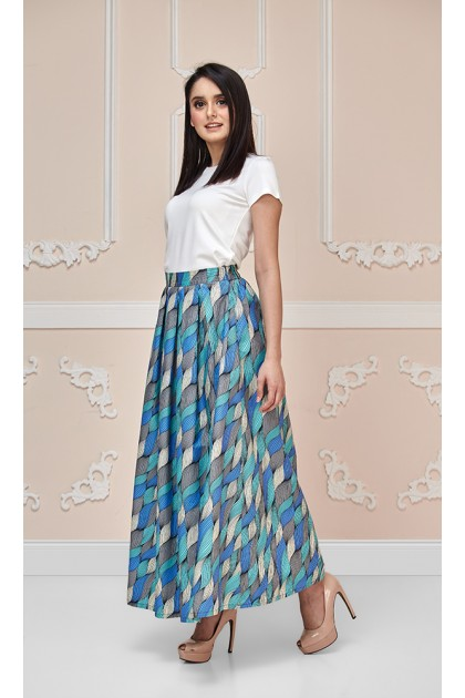 Calla Lily Maxi Skirt in Blue and Teal