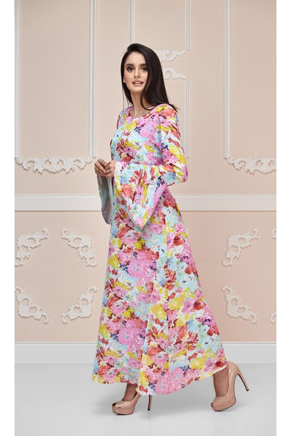 Water Color Rose Maxi Dress