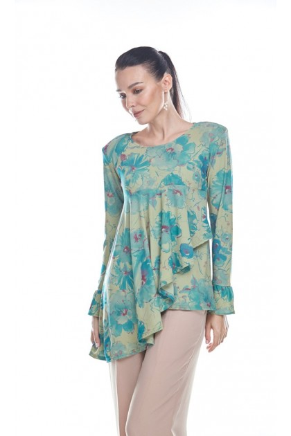 Watercolor Blooms 3.0 Top in Green