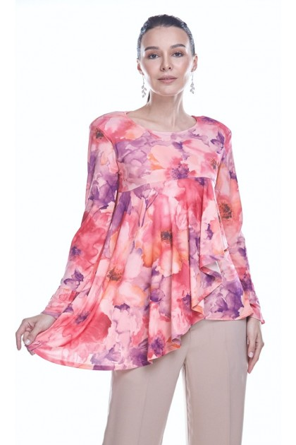 Watercolor Blooms 3.0 Top in Peach