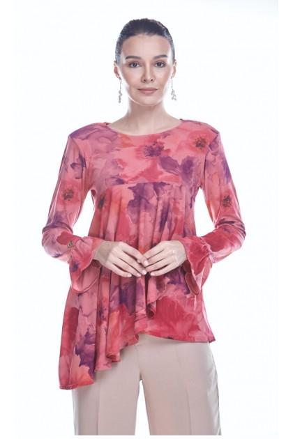 Watercolor Blooms 3.0 Top in Dark Pink