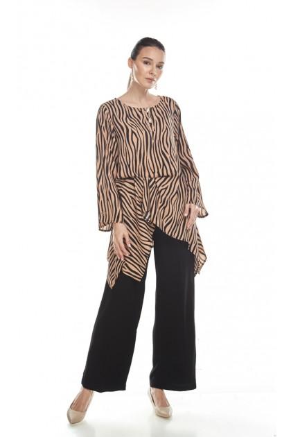 Rachel Top in Black and Brown Stripes