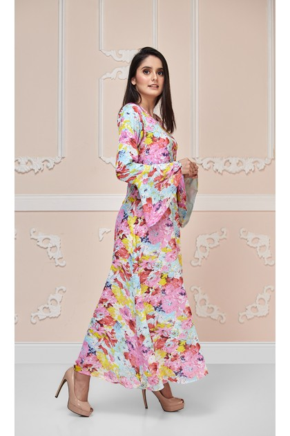 Water Color Rose Maxi Dress (As-Is Item/Minor Defect)