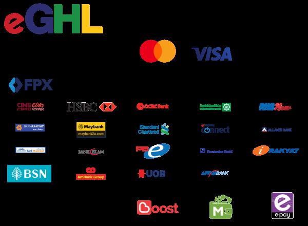 eGHL Visa/Debit, FPX Online Banking, MCash, Boost, ePay